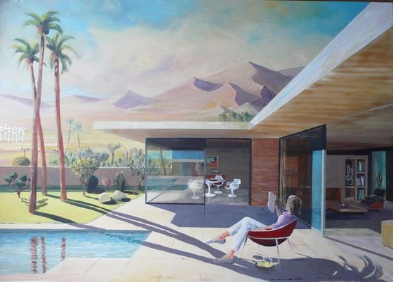 Mid-century modern house painting - William F. Cody Architect - Levin house - Palm Springs: